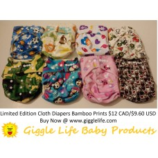 Limited Edition Print Run: Giggle Life Baby Bamboo Cloth Diaper & Two Bamboo Inserts