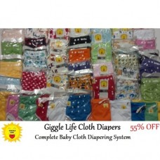 Giggle Life  Complete Baby Cloth Diapering System 24 Diapers, 4 Trainers & More