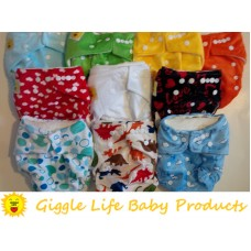 12x Giggle Life Baby Bamboo Cloth Diapers, 24x Bamboo Inserts & Wet Bag