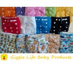 36x Giggle Life Baby Optimize Cloth Diapers, 36x Four Layer Mixed Inserts & 2x Wet Bags